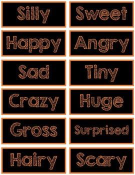 Halloween Adjective Labels for Adjective Pumpkins, Spiders
