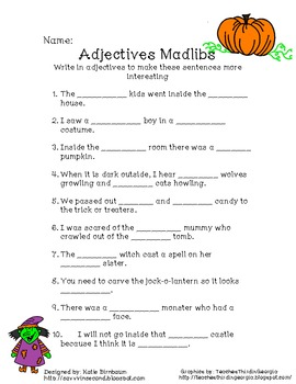 image relating to Halloween Mad Libs Printable named Halloween Adjective Madlibs Sport
