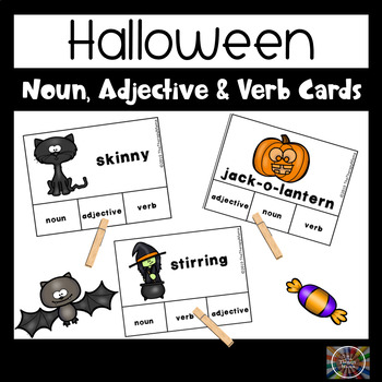 Halloween Adjective, Noun and Verb Task Cards