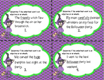 Halloween Adjective and Adverb Task Cards/Scoot