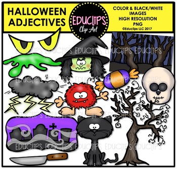 Halloween Adjectives Clip Art Bundle {Educlips Clipart}