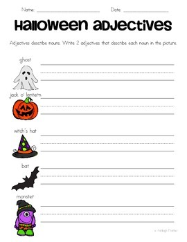 Halloween Adjectives Mini-Packet