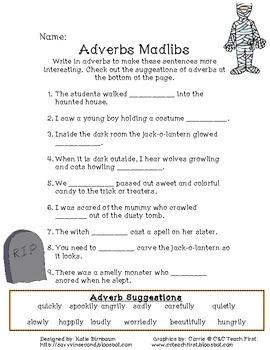 Halloween Adverbs Activity