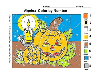 Halloween Algebra Color By Number