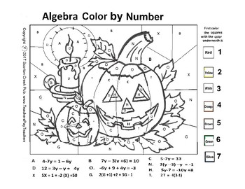 Halloween Algebra Color By Number