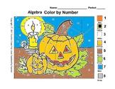 Halloween Color By Number Algebra Grades 5 thru 8