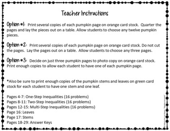 Thanksgiving Algebra Solving and Graphing Inequalities 3D Pumpkin Garland