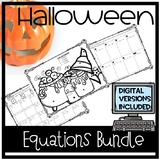 Halloween Algebra two-step equations bundle *distance learning