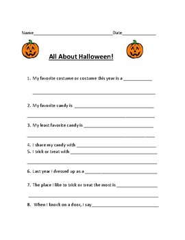 Halloween All About Me Worksheet!