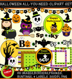 Halloween All-You-Need Clip Art set. With images, backgrounds, frames and more!