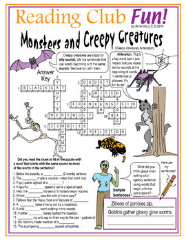 Halloween Alliteration Crossword Puzzle