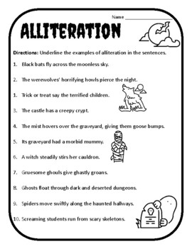 Halloween Alliteration Halloween Alliteration Activity Alliteration Worksheet #2