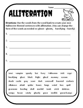 Halloween Alliteration Halloween Alliteration Activity Alliteration Worksheet #1