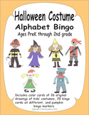 Halloween Alphabet Bingo and Memory Match - Fun costume drawings kids will love