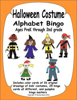 Halloween Alphabet Bingo and Memory Match - Fun costume drawings kids will love