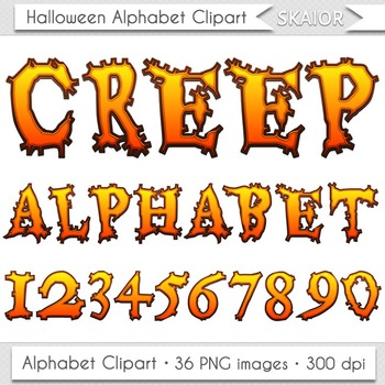 Halloween Alphabet Clipart Spooky Letters Numbers Clip Art Digital Text