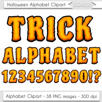 Halloween Alphabet Clipart Zombie Letters Numbers Orange Digital Text Printable