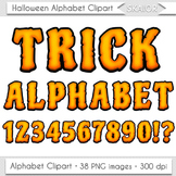 Halloween Alphabet Clipart Zombie Letters Numbers Orange D