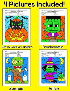 Halloween Activities Color by Letters of the Alphabet - Witch, Zombie, Pumpkin