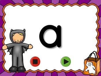 Halloween Alphabet Flash Cards Set - Lowercase Letters