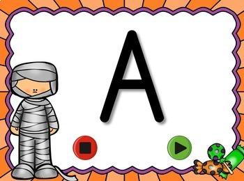 Halloween Alphabet Flash Cards Set - Uppercase Letters