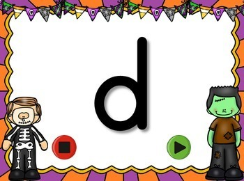 Halloween Alphabet Flash Cards Set - Uppercase and Lowercase Letters