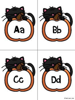 Halloween Alphabet Flash Cards and Game Board