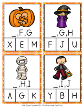 Halloween Alphabet Letter Sequencing Clip Cards