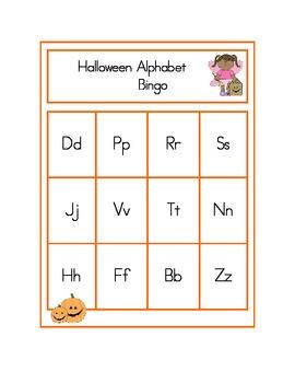 Halloween Alphabet, Number, Beginning Sounds, and Sight Word Bingo Games