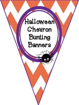 Halloween Alphabet & Number Chevron Bunting Banners