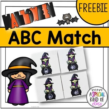 Kindergarten Halloween Alphabet Match Freebie