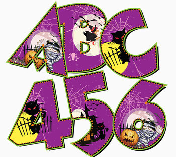 "Halloween Alphabet for 2017  92 pcs - 3.75"" High, 300 DPI Four Scary Styles"