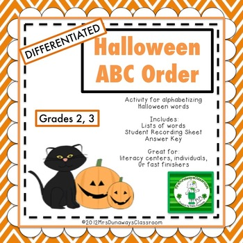 ABC Order for Halloween
