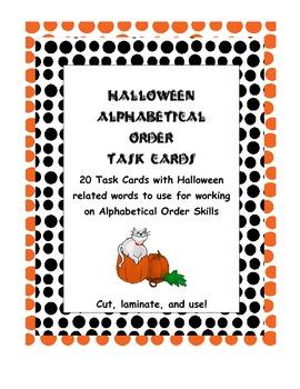 Halloween Alphabetical Order Task Cards