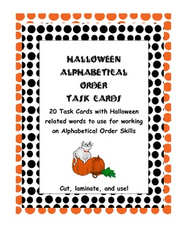 Halloween Alphabetical Order Task Cards