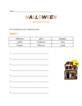 Halloween Alphabetical Order Worksheet