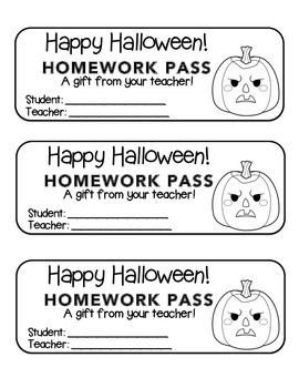"""Halloween"" Angry Pumpkins - Homework Pass –Holiday FUN! (black line)"