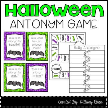 Halloween Antonym Literacy Center Task Cards