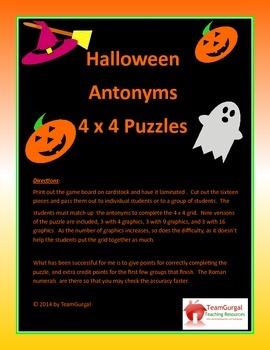 Halloween Antonyms 4 x 4 Puzzles