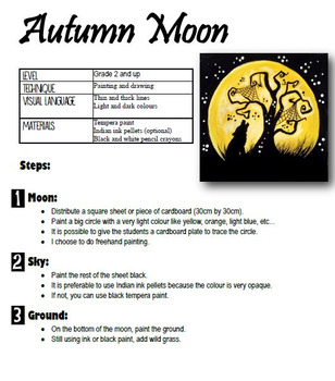 Halloween Art Activity and Lesson for Kids. Autumn Moon
