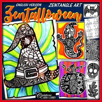 Halloween Art Lesson Plan Zentalloween Zentangle Art Tpt