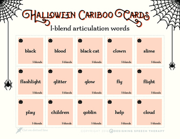 Halloween Articulation Cards for Cariboo FREEBIE