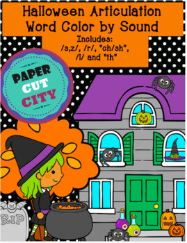 """Halloween Articulation Color by Sound /r/, """"sh"""" & """"ch,"""" /s,z/, """"th"""", /l/"""