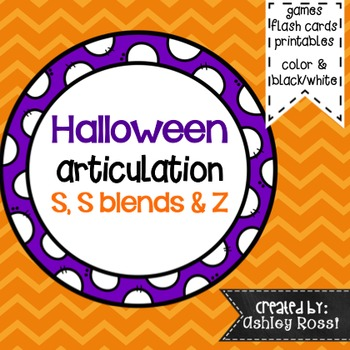 Halloween Articulation For Speech Therapy S, S Blends, and Z