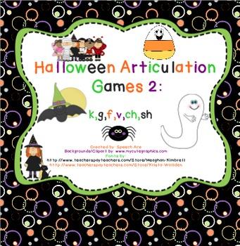 Halloween Articulation Games - 2 (k,g,f,v,sh,ch)