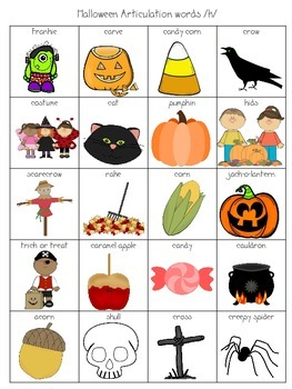 Halloween Articulation Pictures /k/