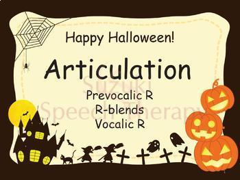 Halloween Articulation R Fun Packet - Prevocalic R, R-blends, Vocalic R