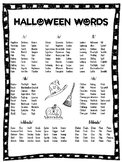 FREE Halloween Articulation Word Lists