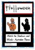 Halloween- Australian Animals in Costume- Match the Shadows and Words