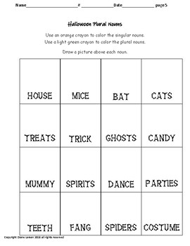 Halloween & Autumn Plural Nouns * 6 pages for each * writing & drawing
